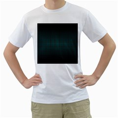 Optical Illusion Grid in Black and Neon Green Men s T-Shirt (White) (Two Sided)