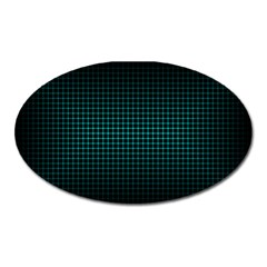 Optical Illusion Grid in Black and Neon Green Oval Magnet