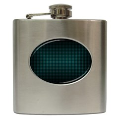 Optical Illusion Grid in Black and Neon Green Hip Flask (6 oz)