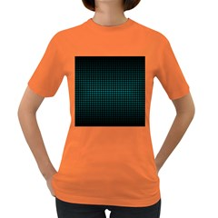 Optical Illusion Grid in Black and Neon Green Women s Dark T-Shirt