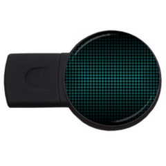 Optical Illusion Grid in Black and Neon Green USB Flash Drive Round (4 GB)
