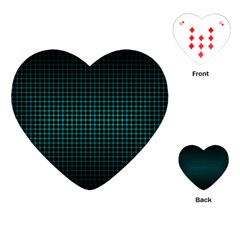 Optical Illusion Grid in Black and Neon Green Playing Cards (Heart)