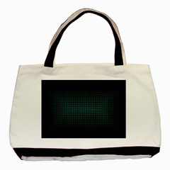 Optical Illusion Grid in Black and Neon Green Basic Tote Bag