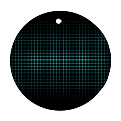 Optical Illusion Grid in Black and Neon Green Round Ornament (Two Sides)
