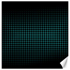 Optical Illusion Grid in Black and Neon Green Canvas 16  x 16