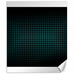 Optical Illusion Grid in Black and Neon Green Canvas 20  x 24