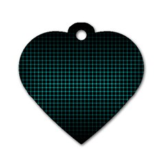 Optical Illusion Grid in Black and Neon Green Dog Tag Heart (One Side)