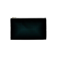 Optical Illusion Grid in Black and Neon Green Cosmetic Bag (Small)