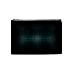 Optical Illusion Grid in Black and Neon Green Cosmetic Bag (Medium)