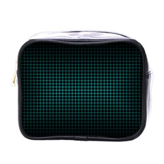 Optical Illusion Grid in Black and Neon Green Mini Toiletries Bags