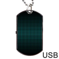 Optical Illusion Grid in Black and Neon Green Dog Tag USB Flash (Two Sides)