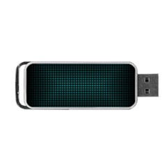 Optical Illusion Grid In Black And Neon Green Portable Usb Flash (one Side)