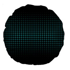Optical Illusion Grid in Black and Neon Green Large 18  Premium Round Cushions