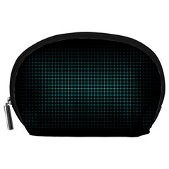 Optical Illusion Grid in Black and Neon Green Accessory Pouches (Large)