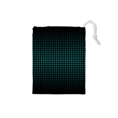 Optical Illusion Grid in Black and Neon Green Drawstring Pouches (Small)