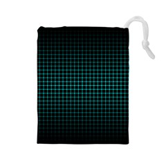 Optical Illusion Grid in Black and Neon Green Drawstring Pouches (Large)