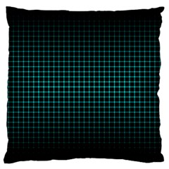 Optical Illusion Grid in Black and Neon Green Large Flano Cushion Case (Two Sides)
