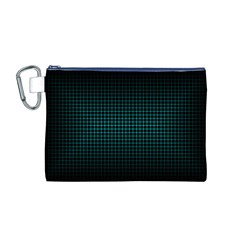 Optical Illusion Grid in Black and Neon Green Canvas Cosmetic Bag (M)