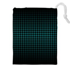 Optical Illusion Grid in Black and Neon Green Drawstring Pouches (XXL)