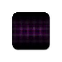 Optical Illusion Grid in Black and Neon Pink Rubber Coaster (Square)