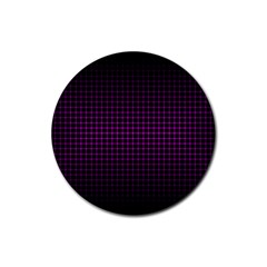 Optical Illusion Grid in Black and Neon Pink Rubber Coaster (Round)