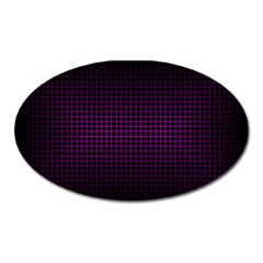 Optical Illusion Grid in Black and Neon Pink Oval Magnet