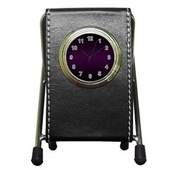 Optical Illusion Grid in Black and Neon Pink Pen Holder Desk Clocks
