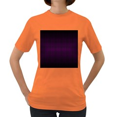 Optical Illusion Grid in Black and Neon Pink Women s Dark T-Shirt