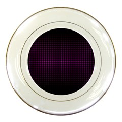 Optical Illusion Grid in Black and Neon Pink Porcelain Plates
