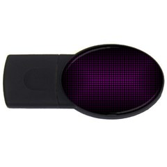 Optical Illusion Grid in Black and Neon Pink USB Flash Drive Oval (4 GB)