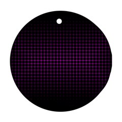 Optical Illusion Grid in Black and Neon Pink Round Ornament (Two Sides)