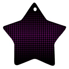Optical Illusion Grid in Black and Neon Pink Star Ornament (Two Sides)