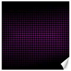 Optical Illusion Grid in Black and Neon Pink Canvas 20  x 20