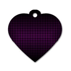 Optical Illusion Grid in Black and Neon Pink Dog Tag Heart (One Side)