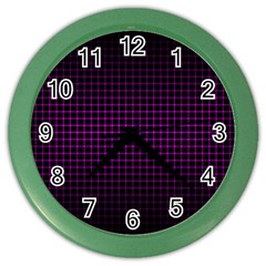 Optical Illusion Grid in Black and Neon Pink Color Wall Clocks
