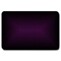 Optical Illusion Grid in Black and Neon Pink Large Doormat