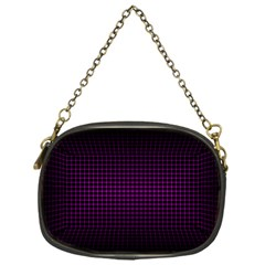 Optical Illusion Grid in Black and Neon Pink Chain Purses (One Side)