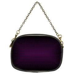 Optical Illusion Grid in Black and Neon Pink Chain Purses (Two Sides)