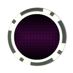 Optical Illusion Grid in Black and Neon Pink Poker Chip Card Guard (10 pack)