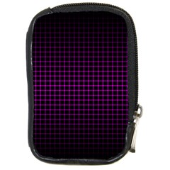 Optical Illusion Grid in Black and Neon Pink Compact Camera Cases
