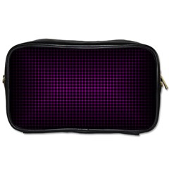 Optical Illusion Grid in Black and Neon Pink Toiletries Bags