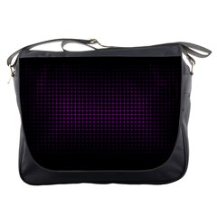 Optical Illusion Grid in Black and Neon Pink Messenger Bags