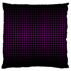 Optical Illusion Grid In Black And Neon Pink Large Cushion Case (two Sides)