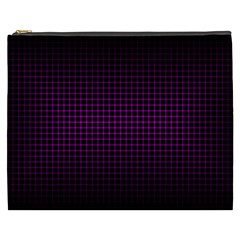 Optical Illusion Grid in Black and Neon Pink Cosmetic Bag (XXXL)