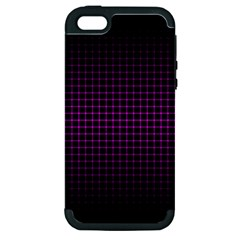 Optical Illusion Grid in Black and Neon Pink Apple iPhone 5 Hardshell Case (PC+Silicone)