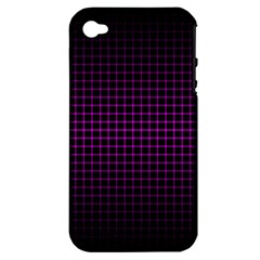 Optical Illusion Grid in Black and Neon Pink Apple iPhone 4/4S Hardshell Case (PC+Silicone)