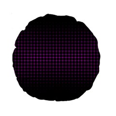 Optical Illusion Grid in Black and Neon Pink Standard 15  Premium Round Cushions