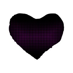 Optical Illusion Grid in Black and Neon Pink Standard 16  Premium Heart Shape Cushions