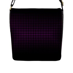 Optical Illusion Grid in Black and Neon Pink Flap Messenger Bag (L)