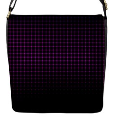 Optical Illusion Grid in Black and Neon Pink Flap Messenger Bag (S)